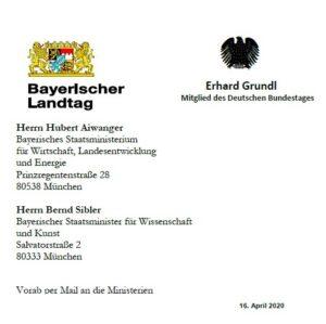 Offener Brief Kunst Kultur Corona Sanne Kurz Erhard Grundl Grüne Fraktion Bayern Homepage Sanne