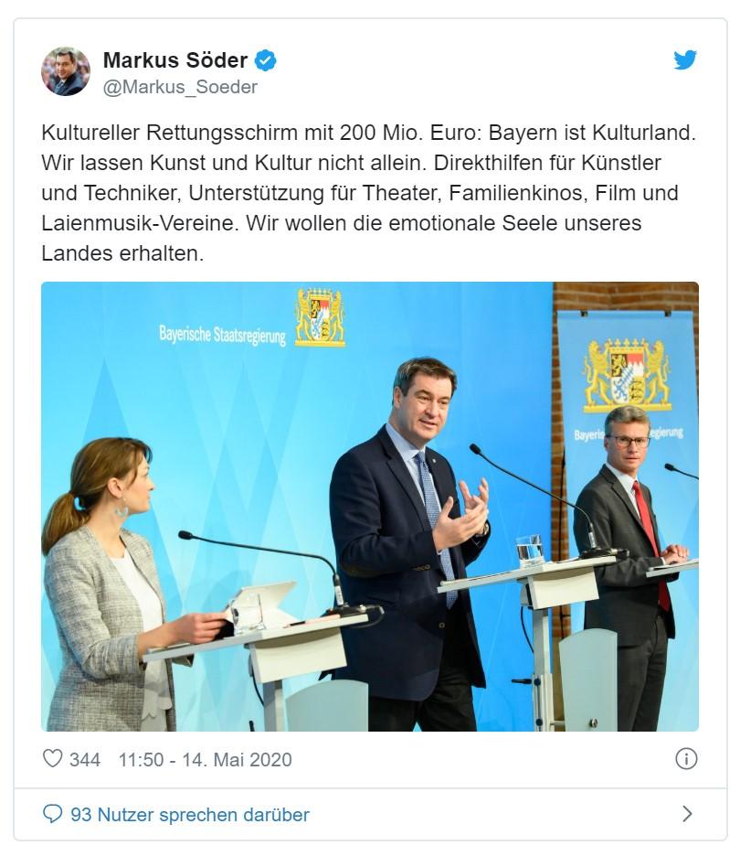 Ministerpräsident Dr. Markus Söder Kultur Künstlerhilfen Kulturstaat Sibler Aiwanger Gerlach Grüne Fraktion Bayern Sanne Kurz