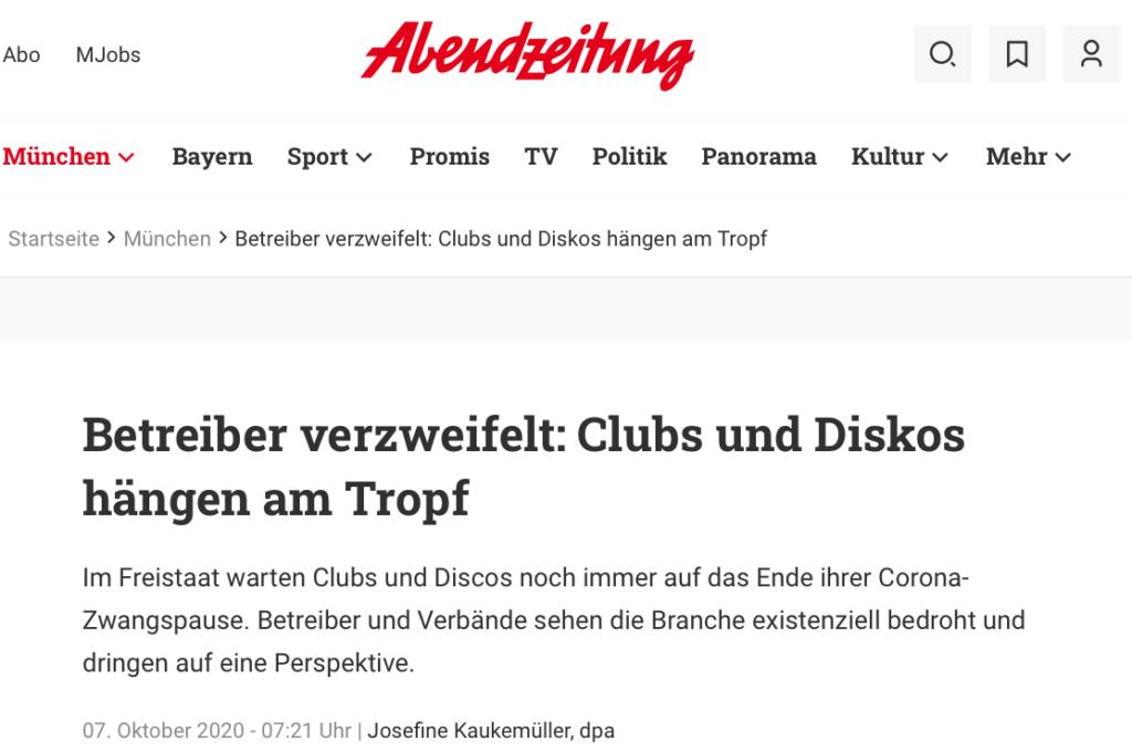 Abendzeitung_20201007_Clubs und Discos hängen am Tropf