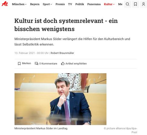 Abendzeitung_Kultur ist doch systemrelevant_Sanne Kurz_210213