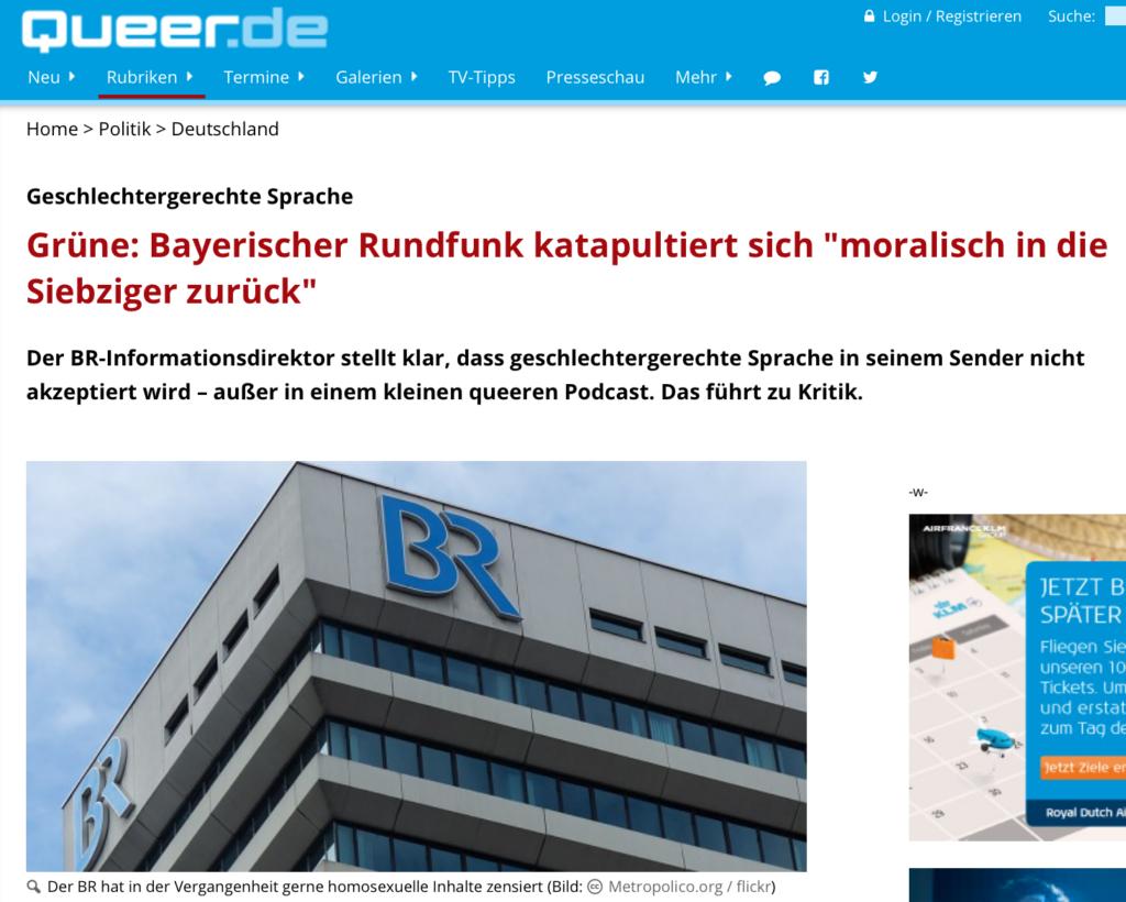 Queer.de, Grüne: Bayerischer Rundfunk katapultiert sich moralisch in die Siebziger zurück_Sanne Kurz_201214