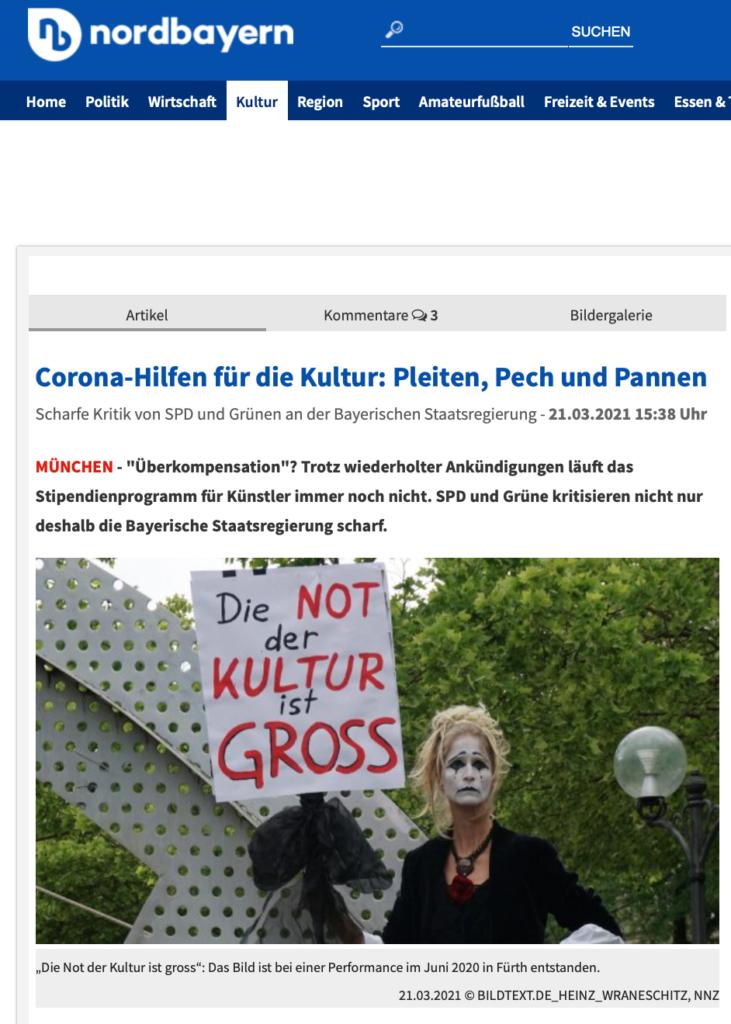 Nürnberger Nachrichten_Corona-Hilfen für die Kultur_21.03.2021_Sanne Kurz