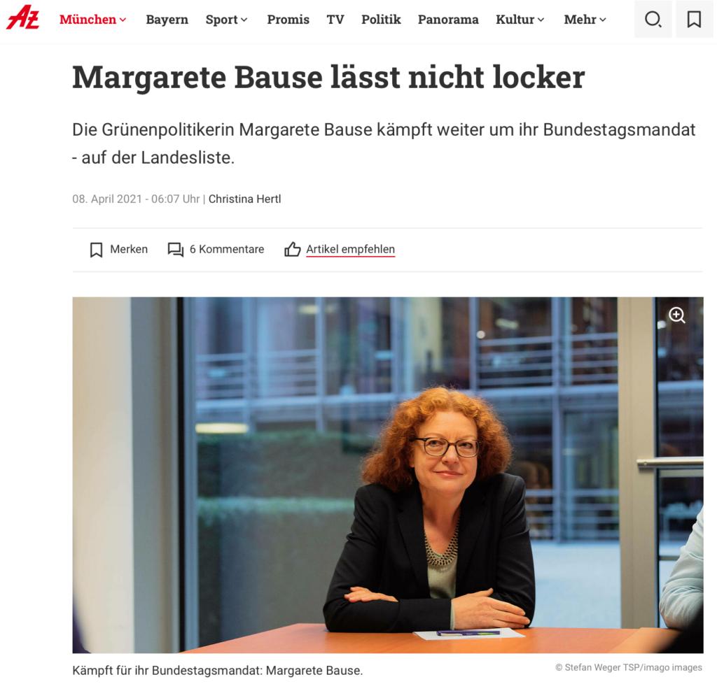 Abendzeitung_Margarete Bause lässt nicht locker_08.04.2021_Sanne Kurz
