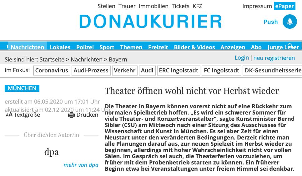 Donaukurier_Theater öffnen wohl nicht vor Herbst wieder_06.05.2020_Sanne Kurz