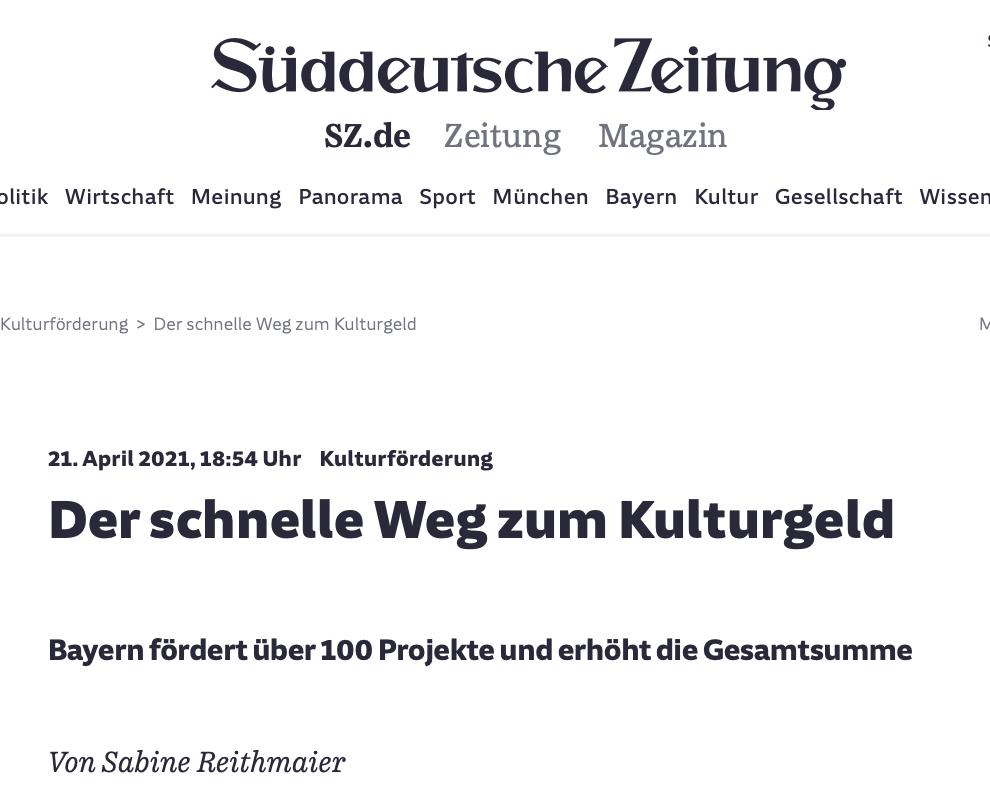Süddeutsche Zeitung_Der schnelle Weg zum Kulturgeld_21.04.20211_Sanne Kurz