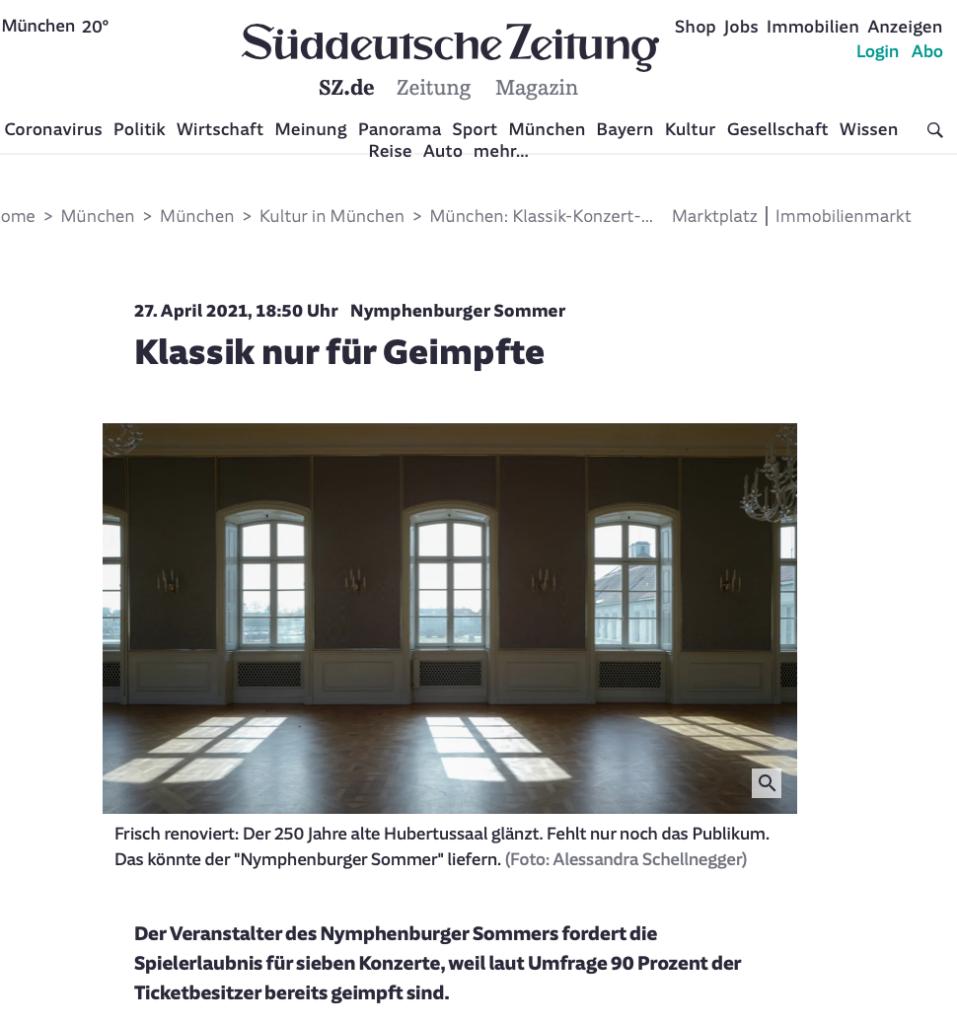 Süddeutsche Zeitung_Klassik nur für Geimpfte_27.04.2021_Sanne Kurz