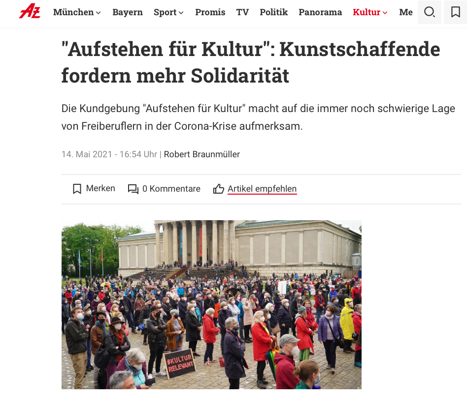 Abendzeitung_Aufstehen für Kultur_14.04.2021_Sanne Kurz