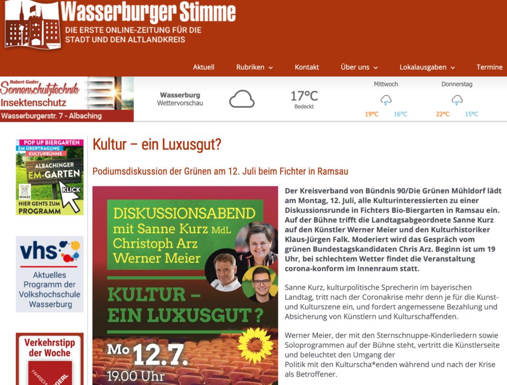 Wasserburger Stimme_Kultur - ein Luxusgut?_06.07.2021_Sanne Kurz