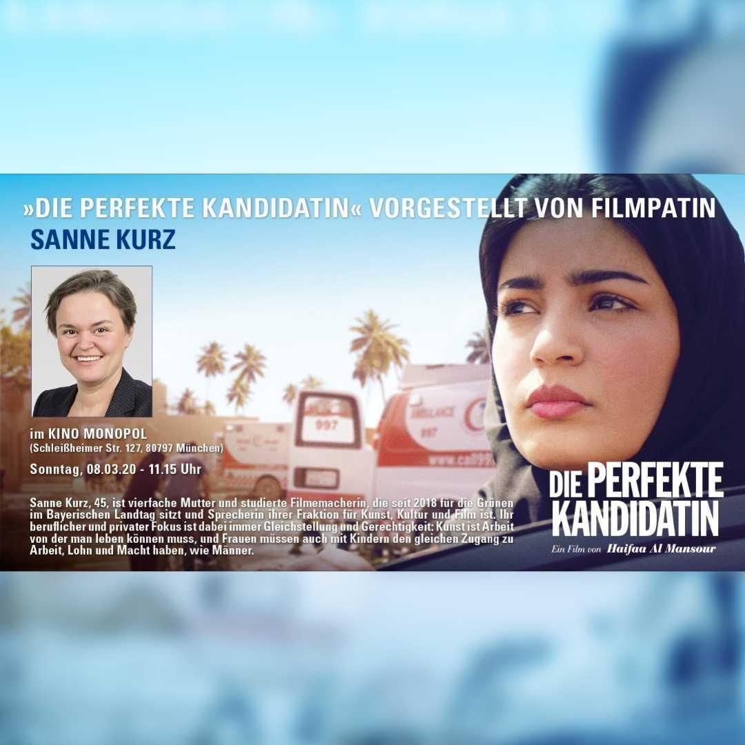 Sanne Kurz Grüne Bayern Landtag Grüne Fraktion Film Kino Preview zum Frauentag Die perfekte Kandidatin